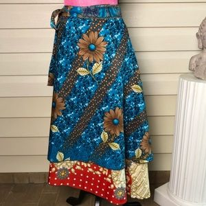 Boho Double Sided Wrap Skirt Floral Print Red Blue